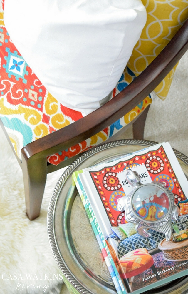 Recover plain chairs with colorful ikat pattern for global flair