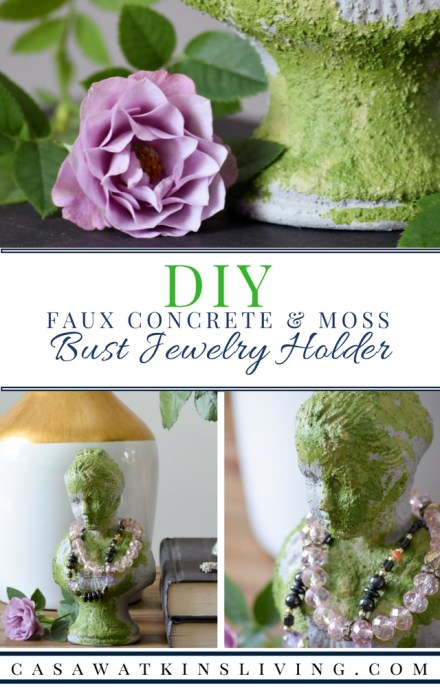 Create a faux concrete and moss jewelry organizer using paint!