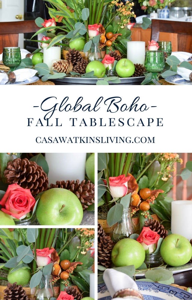 Global boho fall tablescape with plants, pinecones, and apples