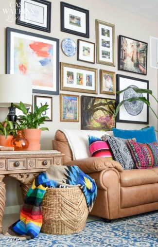 Colorful Global style family room with vibrant boho pillows