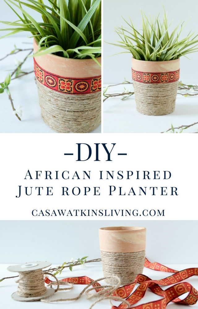 Make an African inspired jute rope planter