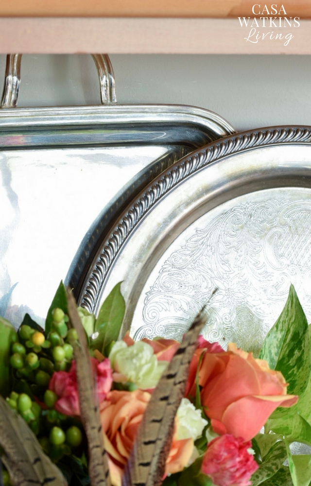 decorating with vintage silver trays