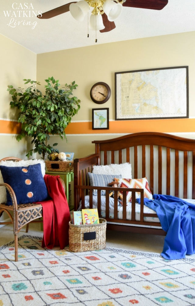 Global themed boy's room makeover on a budget