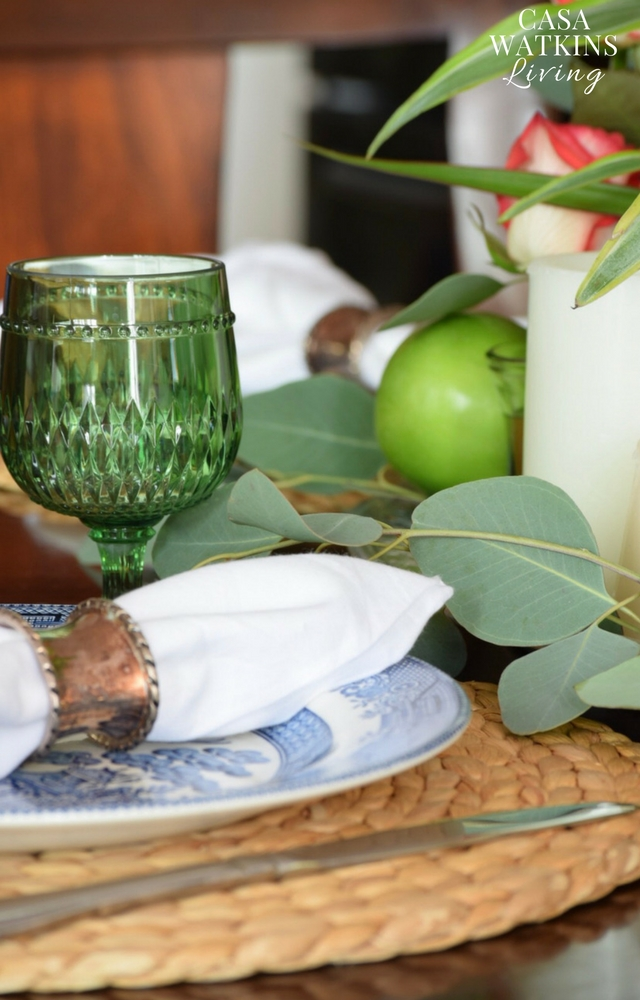 use vintage napkin rings and eucalyptus leaves for boho fall tablescape