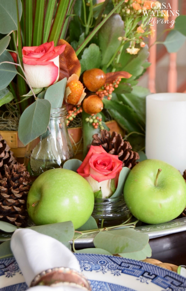 apples, pinecones,and plants for centerpiece idea