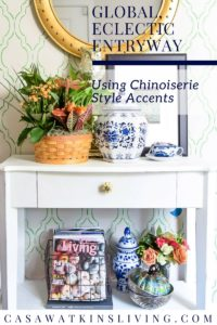 chinoiserie style fall entryway