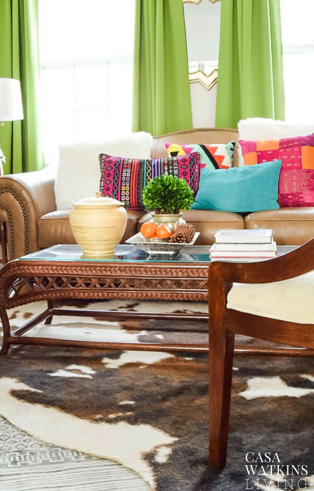 decorating with cow hide rugs