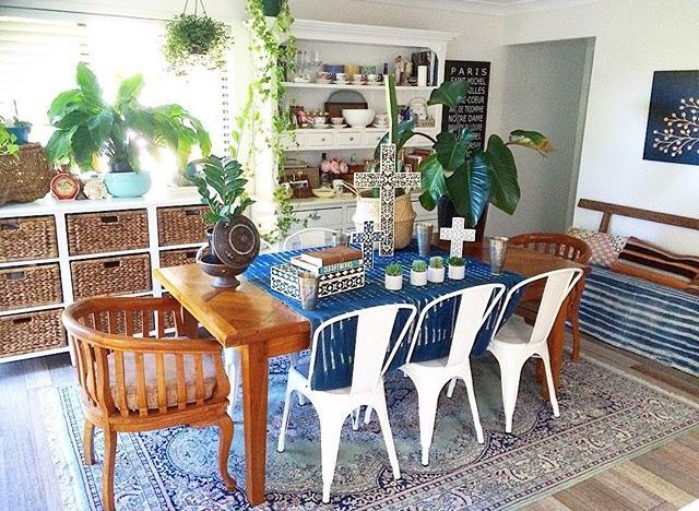 Boho dining room with global style from La Boheme House
