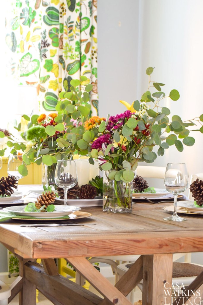 bold floral and eucalyptus centerpiece for winter