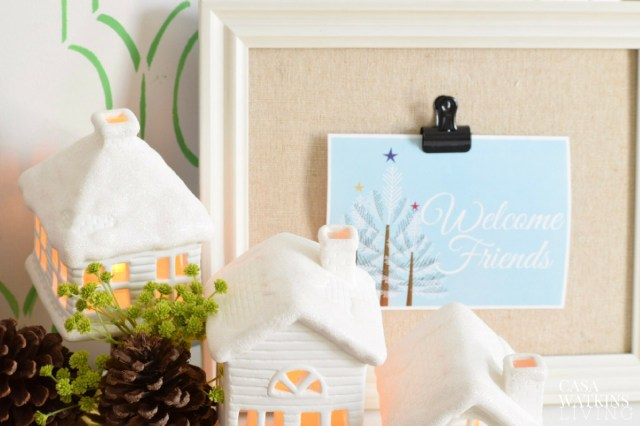 Use clip frame to hold welcome sign for holiday gatherings