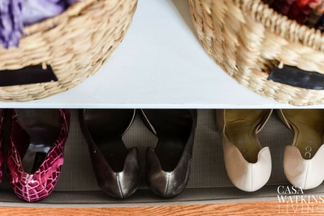 Use a rolling storage basket at your entryway to store guest shoes!