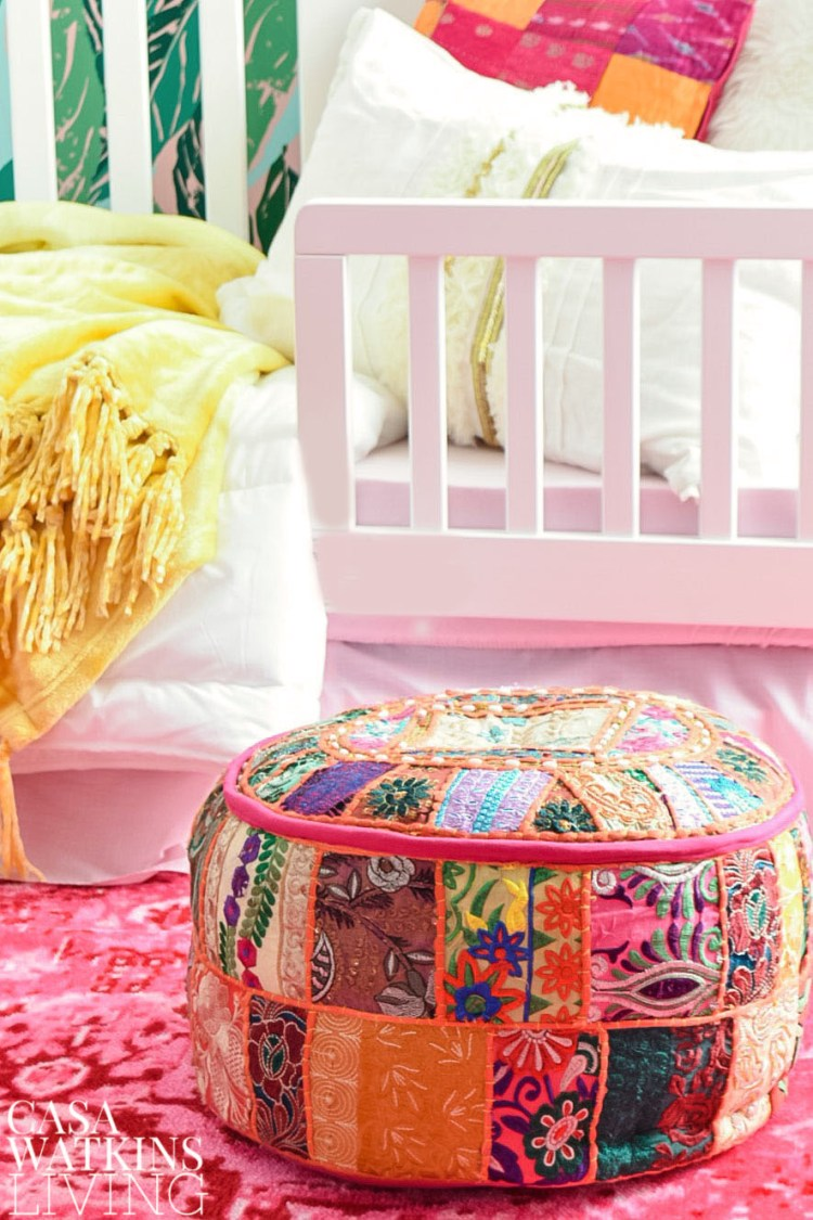 use moroccan poufs in global style boho girls room