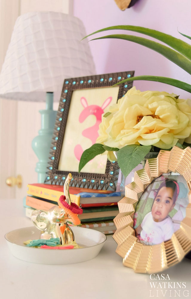 Use ring holder as a pony tail tie holder in girls room