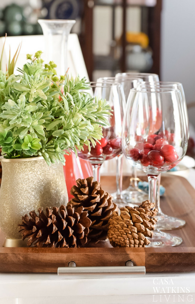 Use wooden tray for holiday vignette and serveware