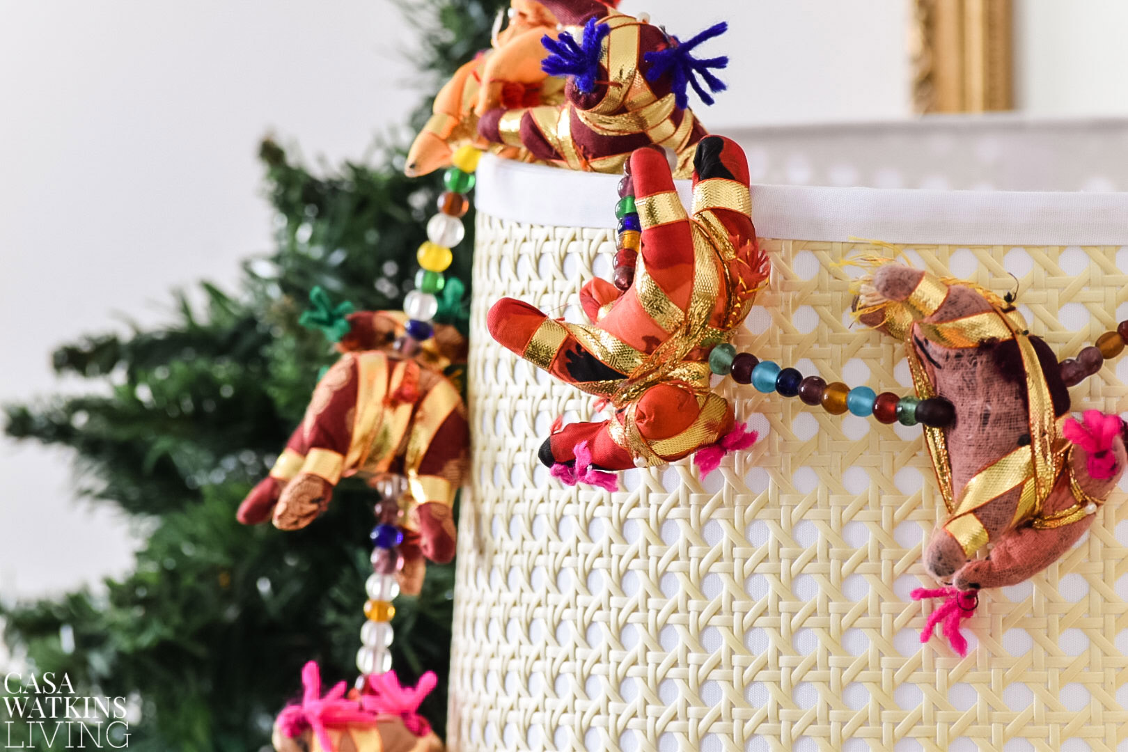 Indian elephant garland as lampshade decor