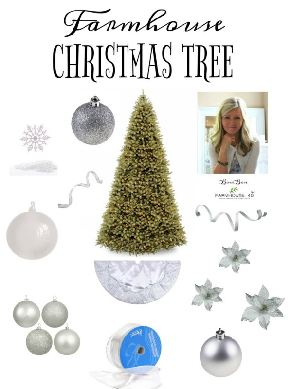 Silvery White farmhouse Christmas tree by Farmhouse40