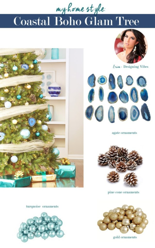 Coastal boho glam Christmas tree by Designing Vibes
