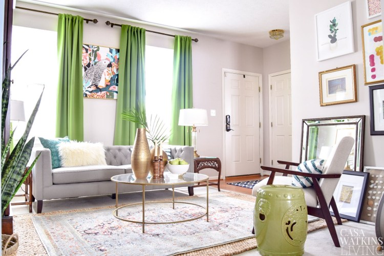 green global style living room makeover