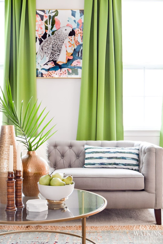 green curtains in global style living room