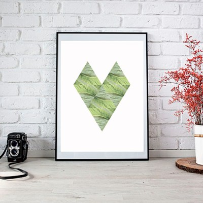 Printable Scandinavian Style Tropical Heart Art