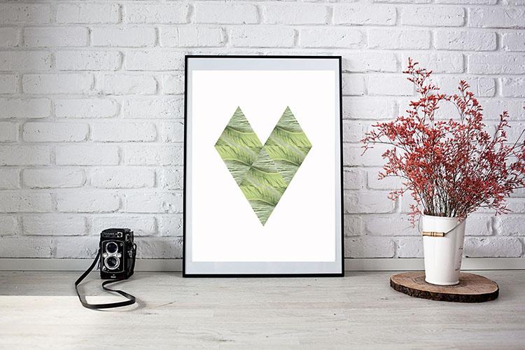 Printable Scandinavian Style Tropical Heart Art