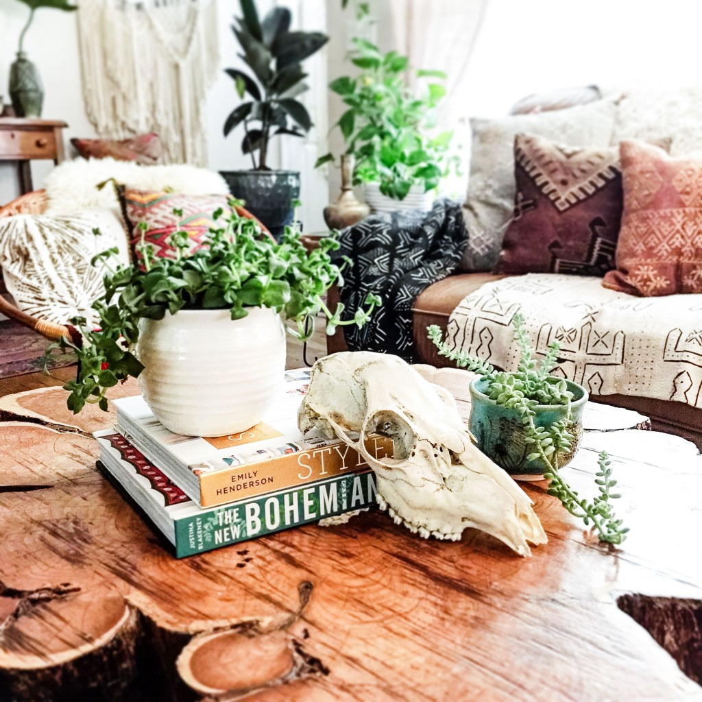 rustic global boho living room