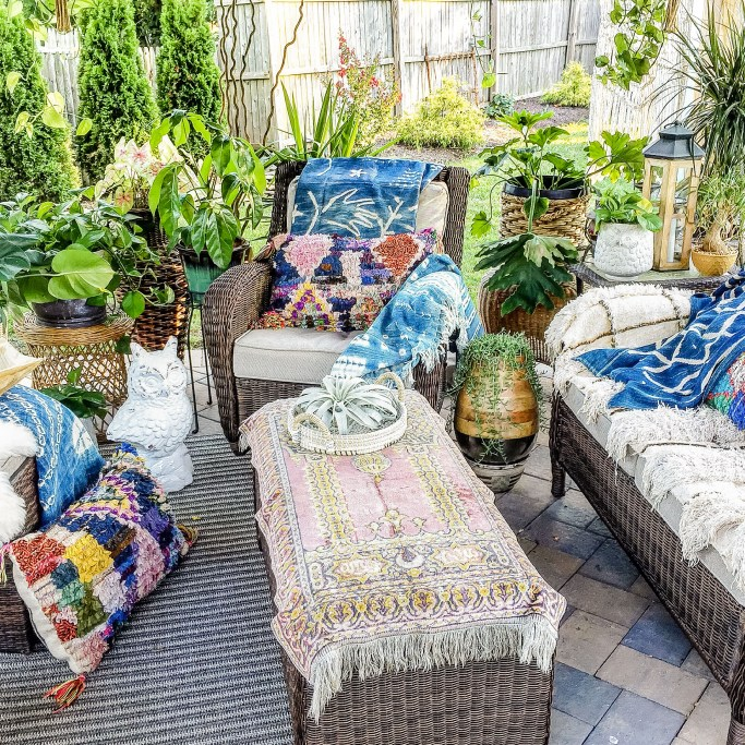 bohemian outdoor with global style and rugs