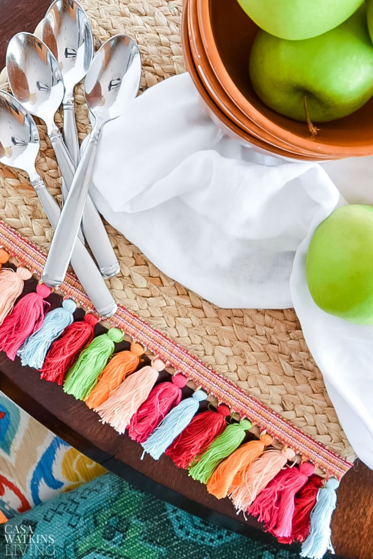 diy global style placemats with tassels