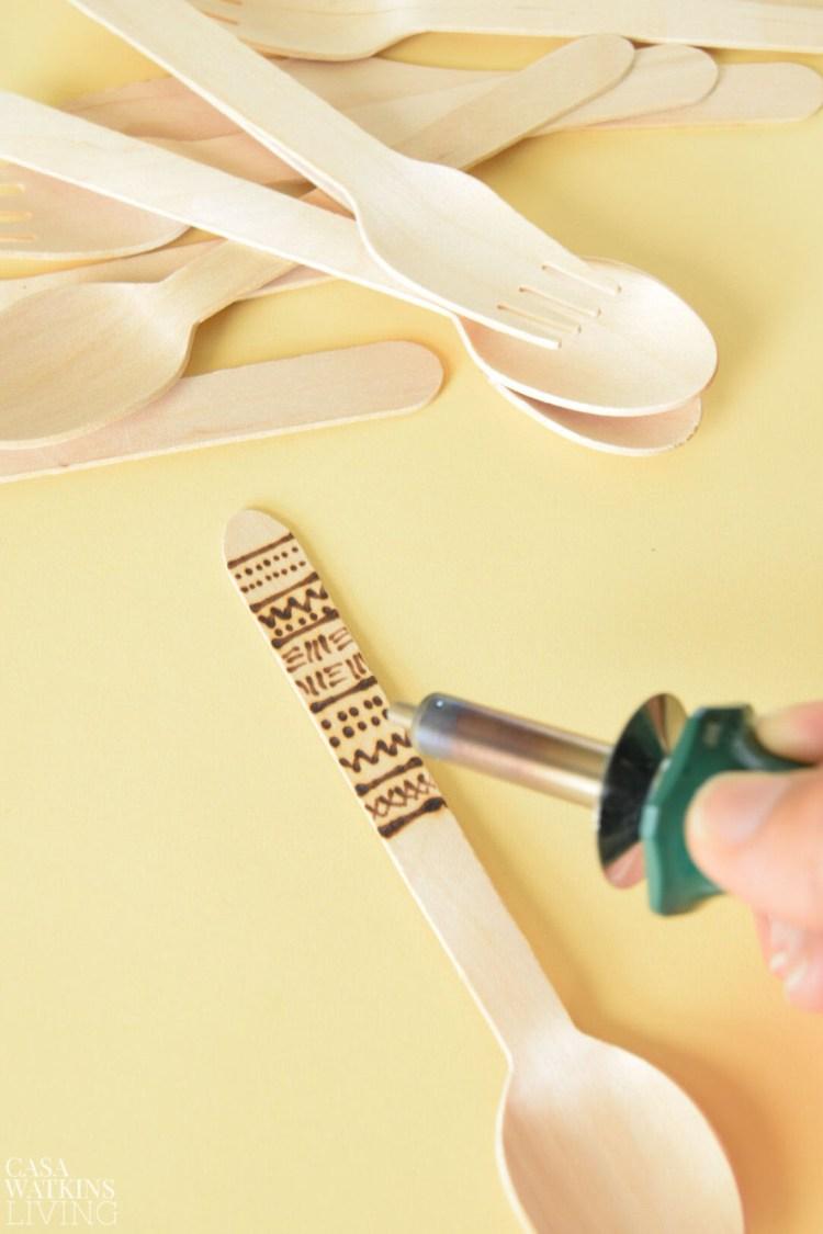 diy wood burned mudcloth utensils