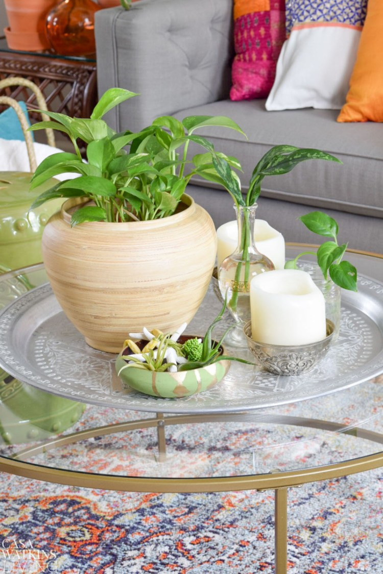 How to use plants for summer table decor casa watkins living styling a moroccan tray for summer geotapseo Gallery