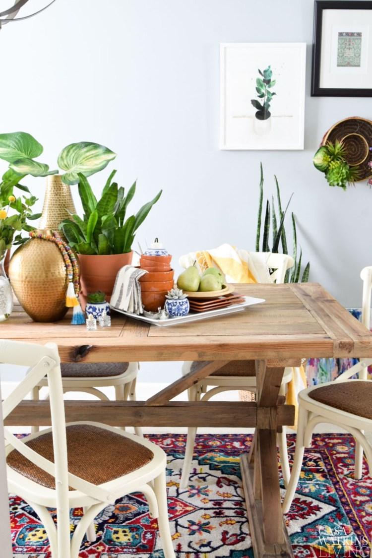 global inspired dining room vignette