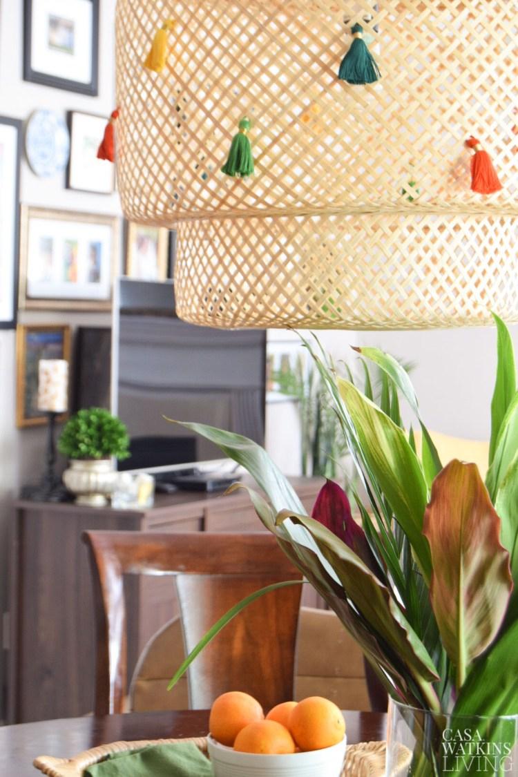 diy tassel kitchen lamp makeover