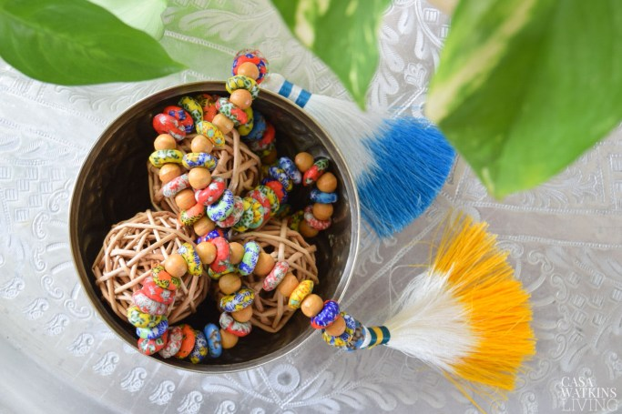 boho style bead garland great for bowls and jars!