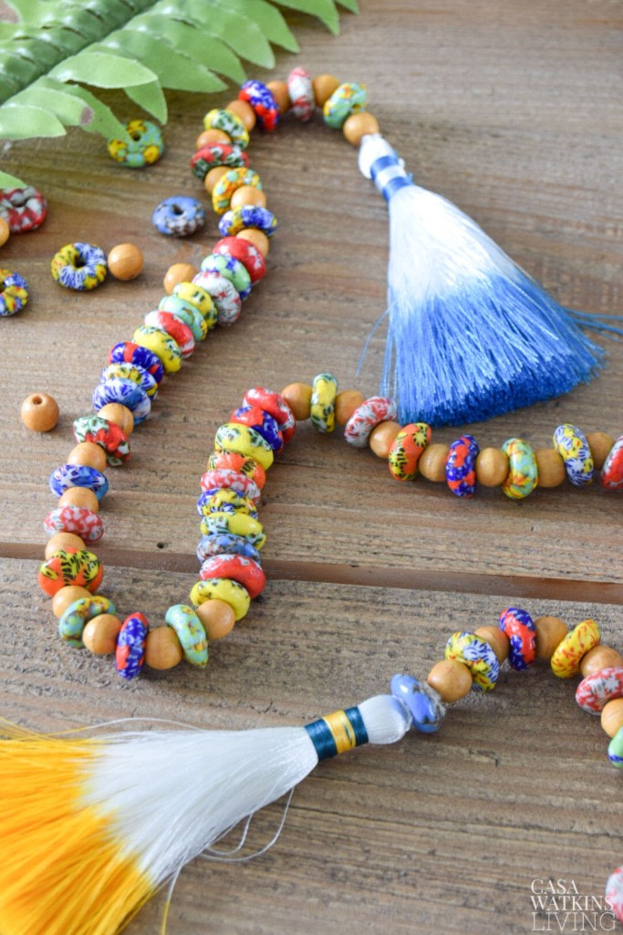 diy global style bead garland strand