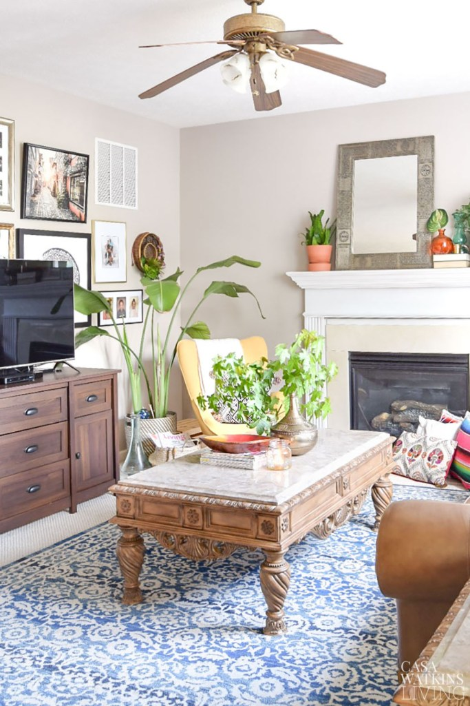 fall touches for global style family room