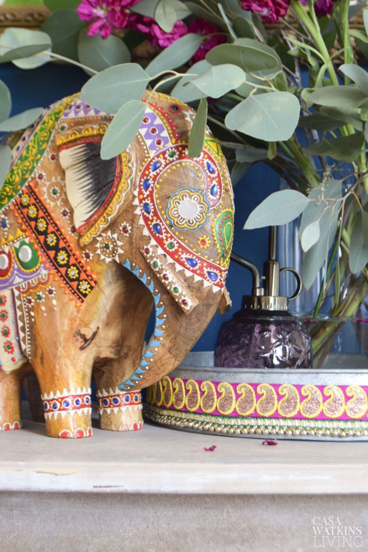 global style fall decor, boho painted elephant with eucalyptus floral arrangments