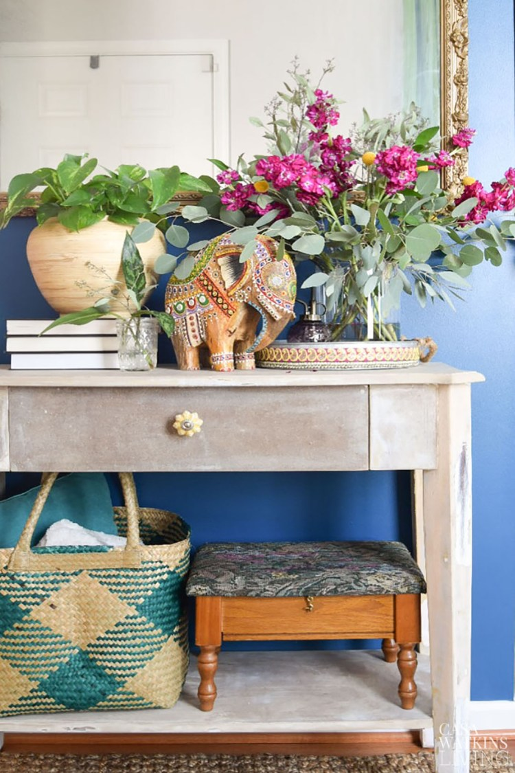 boho style entryway decor for fall