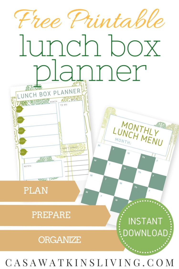 free printable lunch menu planner and monthly lunch box planner