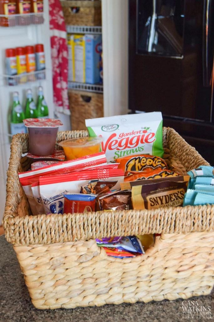 organizing a kids pantry basket