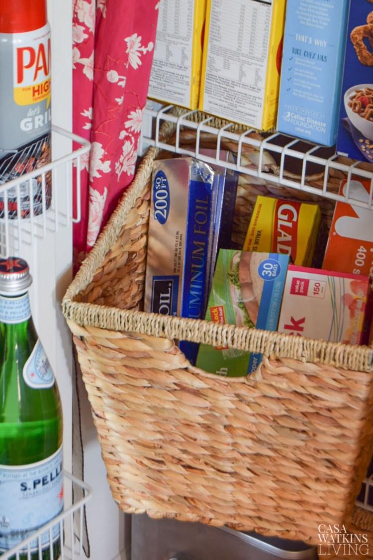 pantry with basket organization