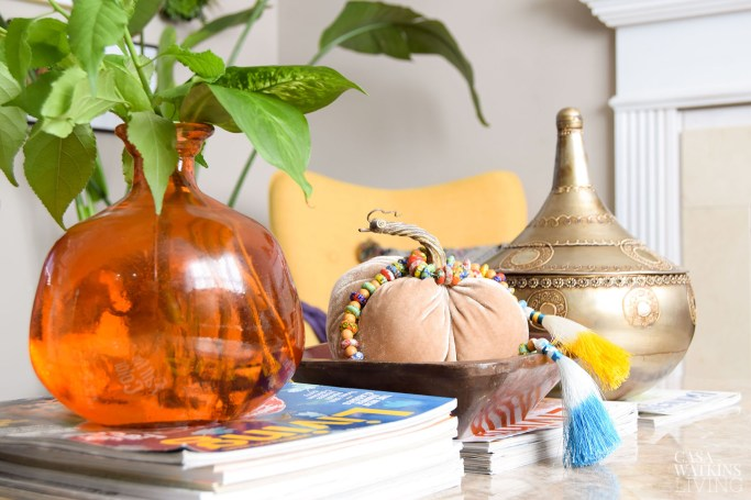 decorating with thrift store wooden bowl