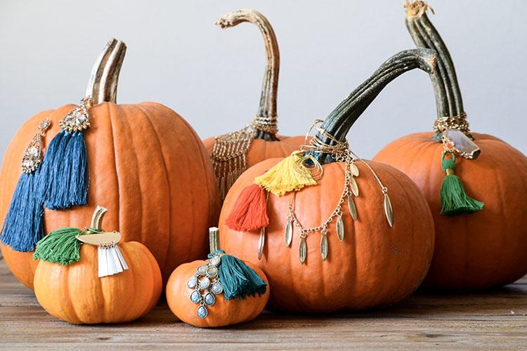 Quick DIY Jeweled Pumpkins