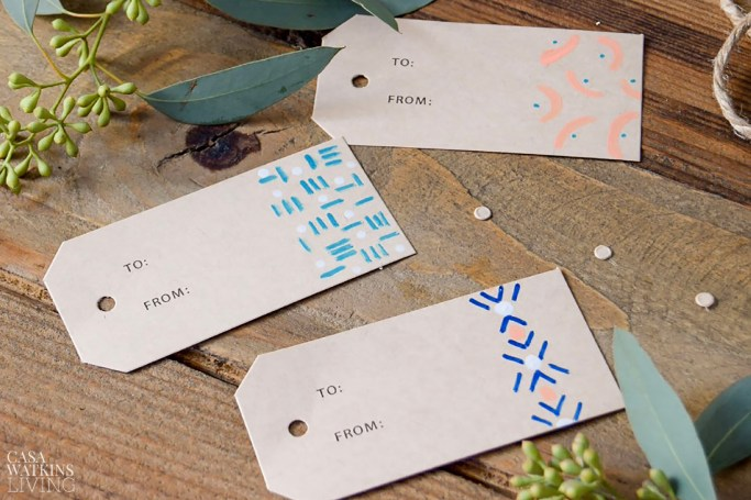 DIY tribal gift tags. Great global boho gift wrapping ideas