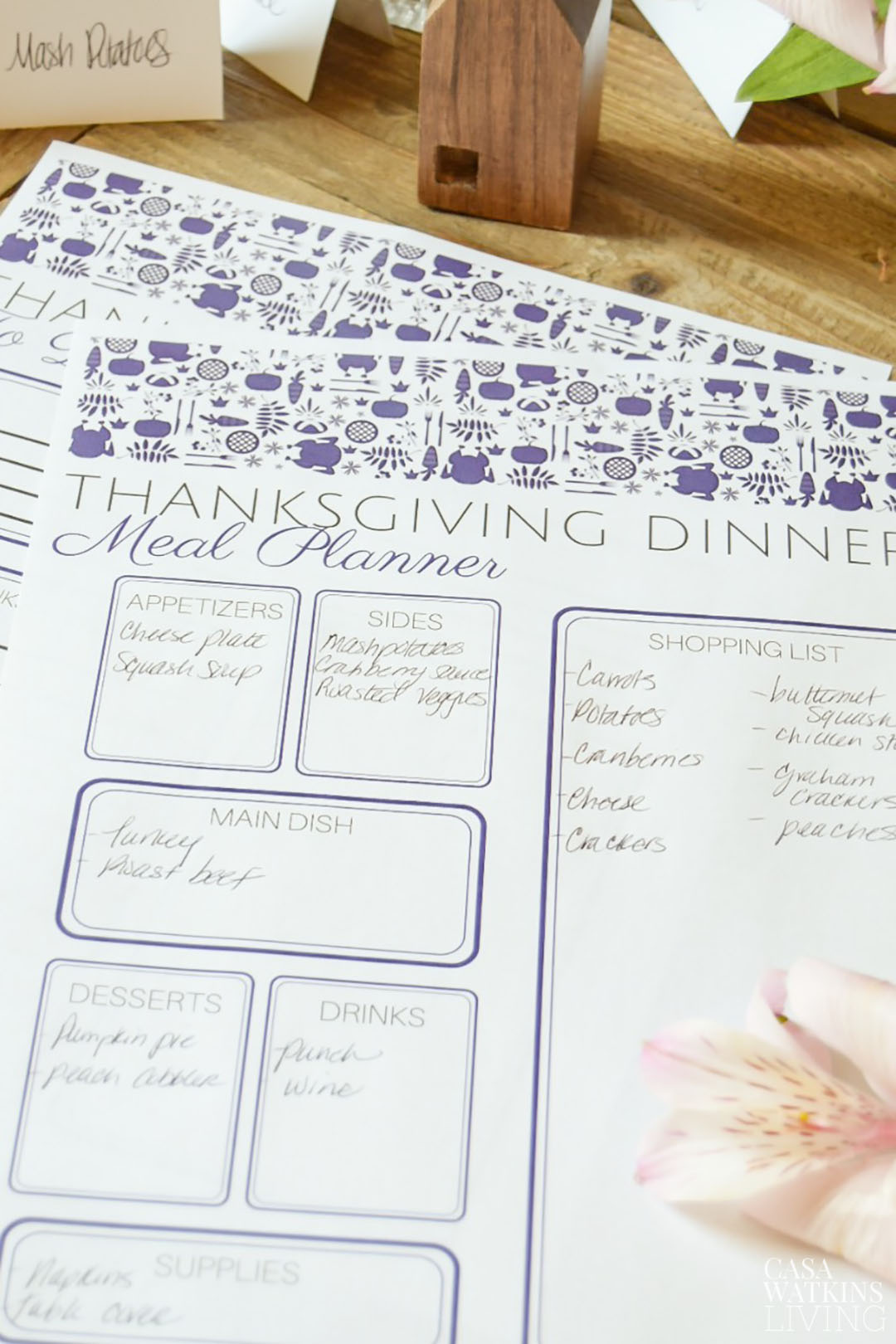 graphic regarding Thanksgiving Planner Printable identify Otomi Thanksgiving Menu Planner Printable - Casa Watkins Residing