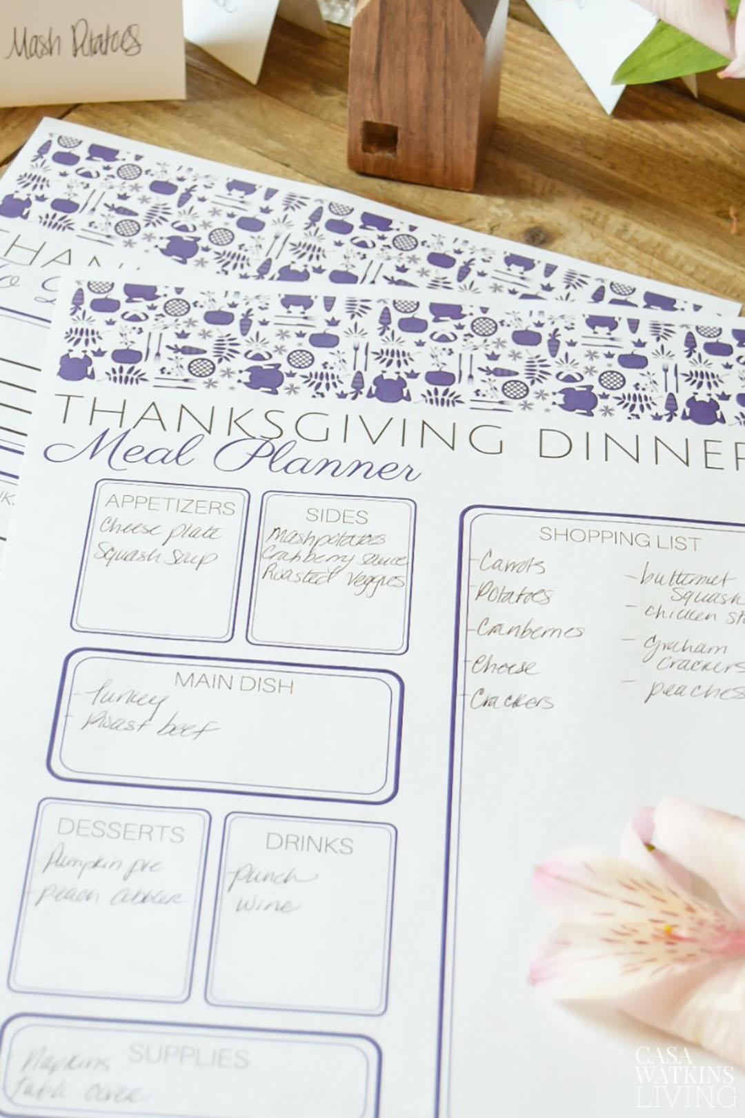graphic regarding Thanksgiving Planner Printable identify Otomi Thanksgiving Menu Planner Printable - Casa Watkins Residing