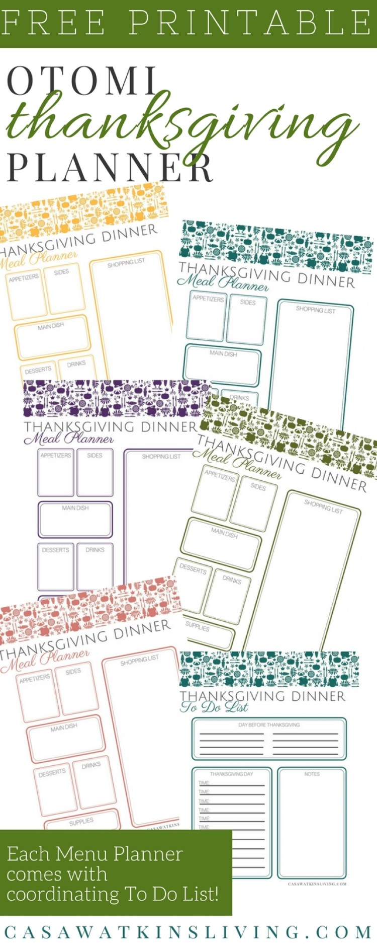 free Otomi thanksgiving planner in 5 colors!