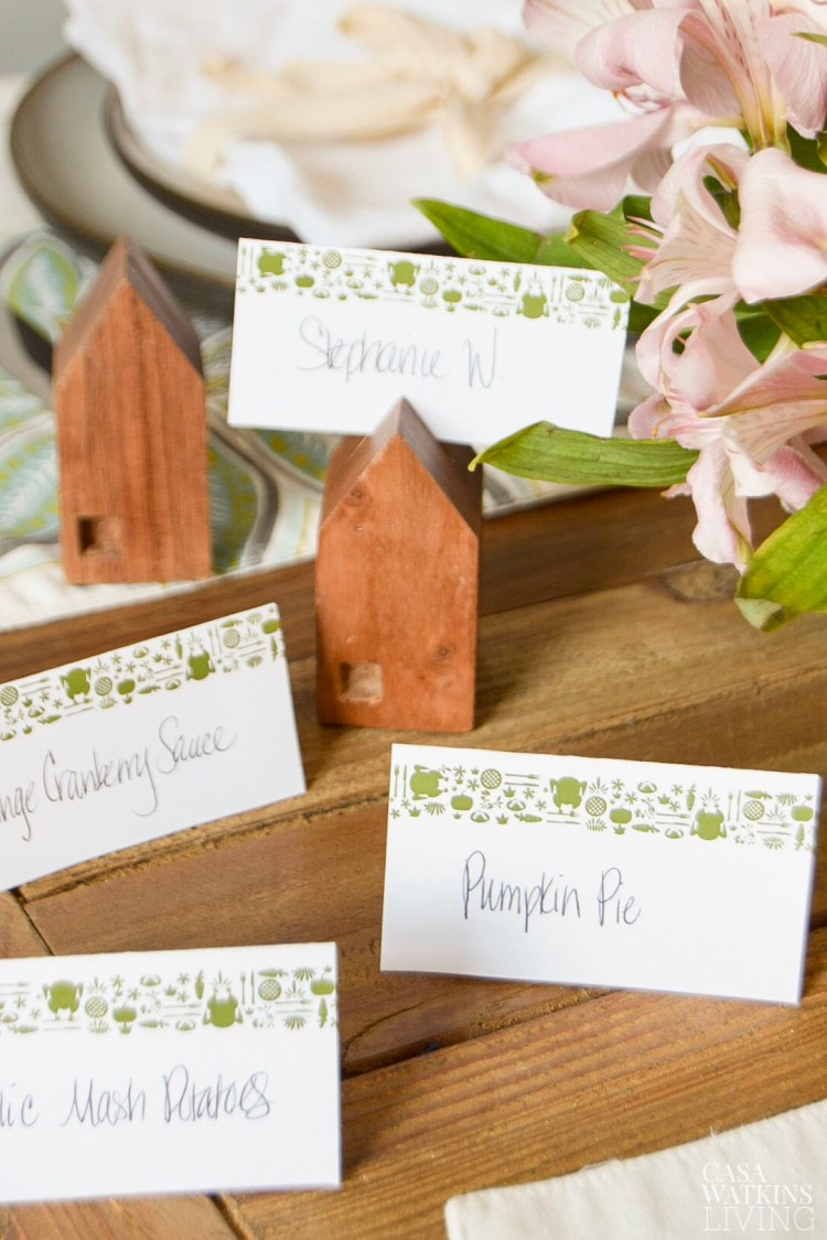 printable Otomi thanksgiving placecards and food label tents