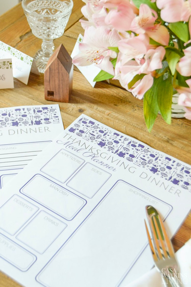 free thanksgiving menu planner and to do list in purple otomi print! Comes in 4 more colors