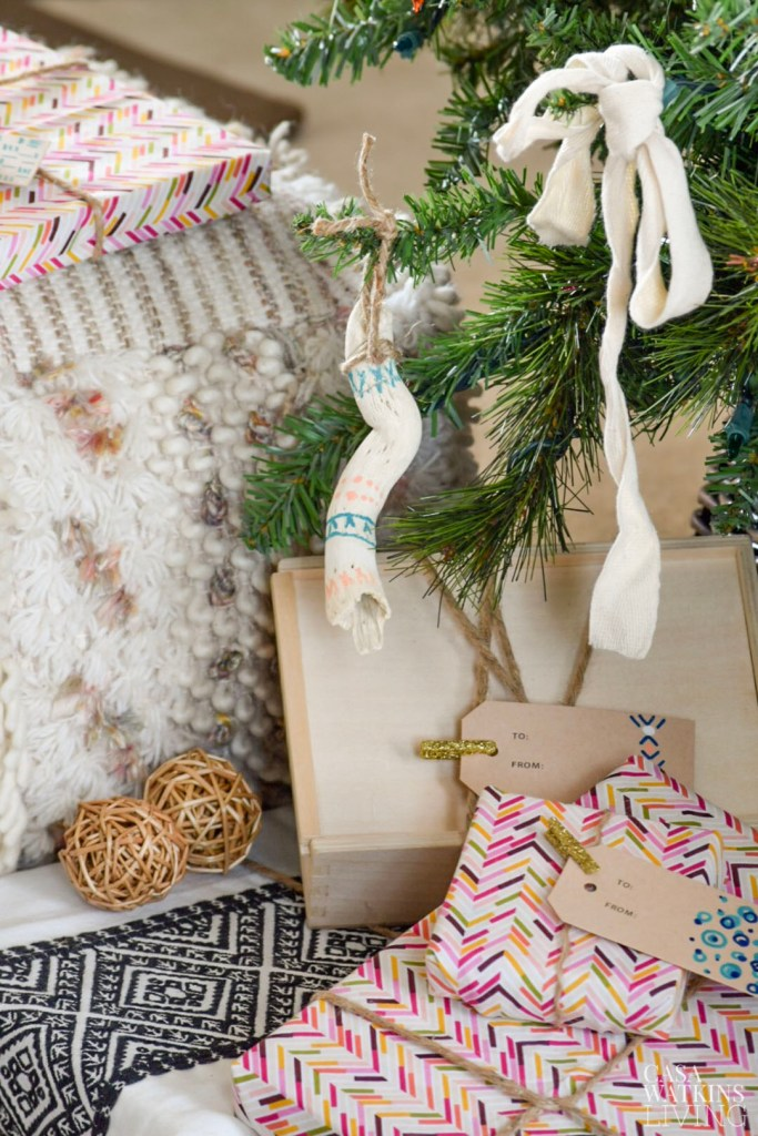 Bohemian Christmas tree with global style ornaments