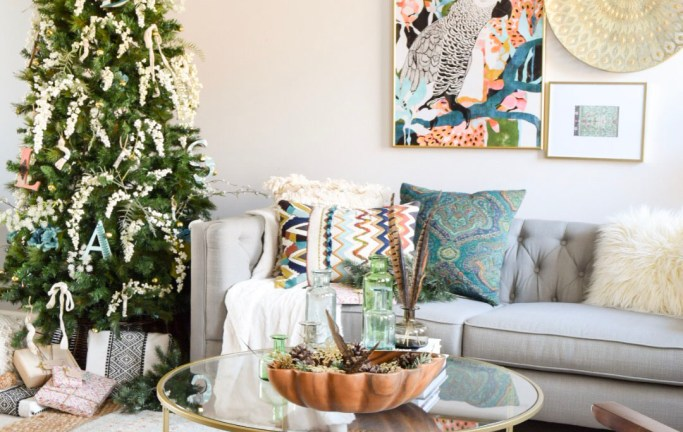 Tour my simple bohemian Christmas tree with global style